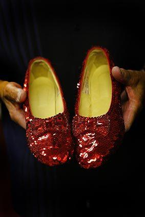 "A replica of the ruby slippers from the movie ""The Wizard of Oz."""