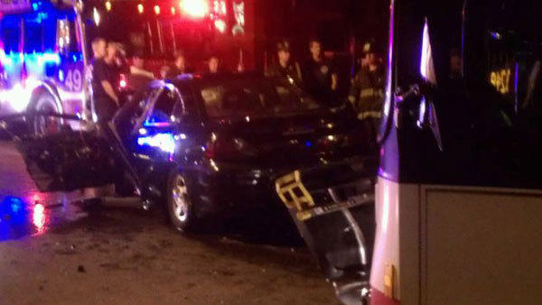 This car was damaged in a collision with a CTA bus on June 16, 2012.
