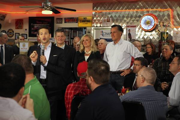 "U.S. Rep. Aaron Schock, R-Peoria, left, campaigning in March with Illinois state Treasurer Dan Rutherford and Ann and Mitt Romney, complained that President Barack Obama had ""complete, unadulterated control"" of Congress for two years."
