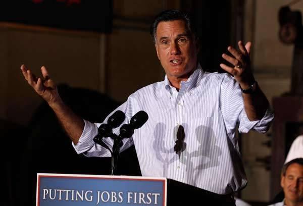 Republican Presidential candidate Mitt Romney speaks to crowd in Pennsylvania.