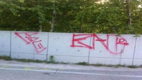 Graffiti on the police memorial