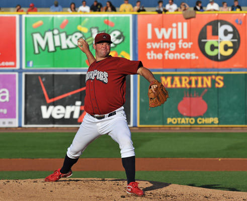 Lehigh Valley IronPigs' Matt Wright (50) pitches against Durham Bulls during a baseball game held at Coca Cola Park in Allentown on Saturday.