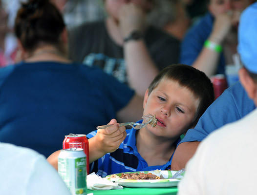 Nicholas Davidson, 8, of Emmaus enjoys some pork during a pig roast at Cliff Cowling Field as part of the Bath's 275th anniversary on Saturday afternoon. The pig was 260 pounds and donated by Deysher's Custom Butchering located int Bath. The afternoon featured food and music.