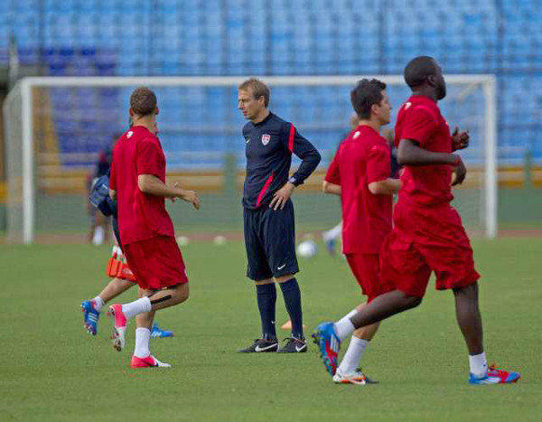 U.S. Coach Juergen Klinsmann watches his players during a training session at National Stadium in Guatemala City on June 11.
