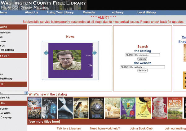 This screen shot shows the Washington County Free Library website message announcing the suspension of bookmobile service.