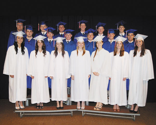 The Heritage Academy Class of 2012 includes, front row, from left, Rachel Clarke, Stephanie OBrien, Michelle Creswell, Jessica Gaylor, Abbey Jackson, Kathleen Kidd and Callie Butts. Middle row, Jared Hamrick, Mark Taggart, Chad Lowry, Christian Strickler, Stephen Brewer and Darian Bercaw. Back row, Jacob Kelley, Adam Tresler, Rob Martin, Bryce Boyd, Michael Donmoyer and Peter Therrie.