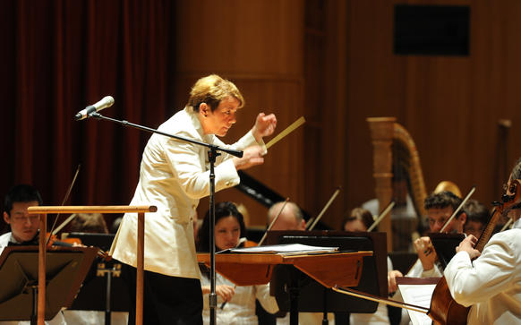 Marin Alsop conducted several pieces for the 'Star-Spangled Symphony' concert at Meyerhoff Hall. The concert included the premiere of Philip Glass' 'Overture for 2012, also conducted by Marin Alsop.