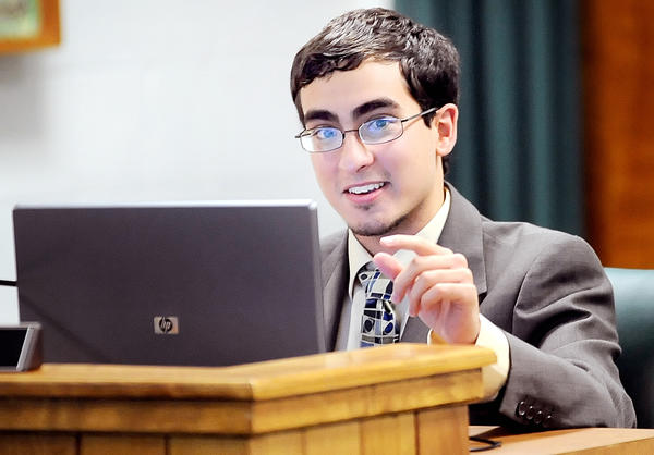 Abdul Latif listens to a presentation during the May 15 meeting of the Washington County Board of Education. Latif will attend his last board meeting as the student representative on the board on Tuesday.