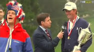 'Bird-man' hijacks Webb Simpson's US Open award ceremony