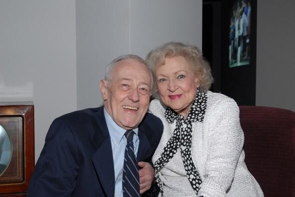 Actors John Mahoney (left) and Betty White (right) at the Museum of Broadcast Communications June 12, 2012.
