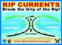 There's a high risk of rip currents at the beaches on Monday.