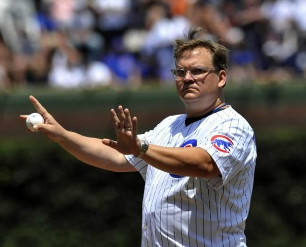 """Conan"" sidekick Andy Richter throws out the first pitch before the Cubs-Detroit Tigers game at Wrigley Field June 14, 2012."