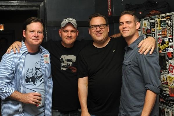 (L to R) Actors Joel Murray, Mike O¿Malley, Jeff Garlin and Cubs president of baseball operations Theo Epstein at the Hot Stove Cool Music Chicago Benefit Concert at The Metro June 14, 2012.