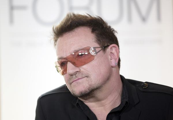 U2 lead singer Bono gives a press conference in Lorenskog, Norway, on June 18.
