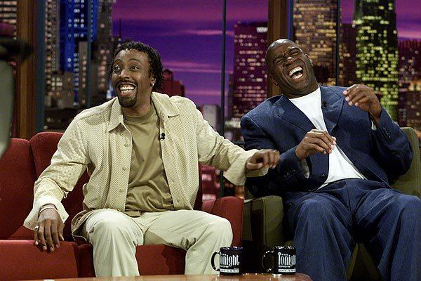 "Arsenio Hall and Magic Johnson appear on  ""The Tonight Show With Jay Leno"" on July 31, 2001. (Johnson also had a syndicated talk show, ""The Magic Hour,"" in 1998.)"
