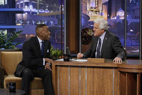 "Arsenio Hall visits with Jay Leno on ""The Tonight Show"" on March 22, 2012."