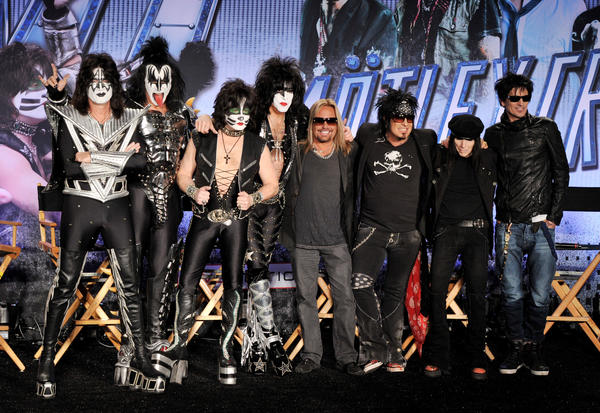 Members of KISS and Motley Crue announce their co-headlining tour on March 20 at the Hollywood Roosevelt Hotel in Los Angeles, Calif.