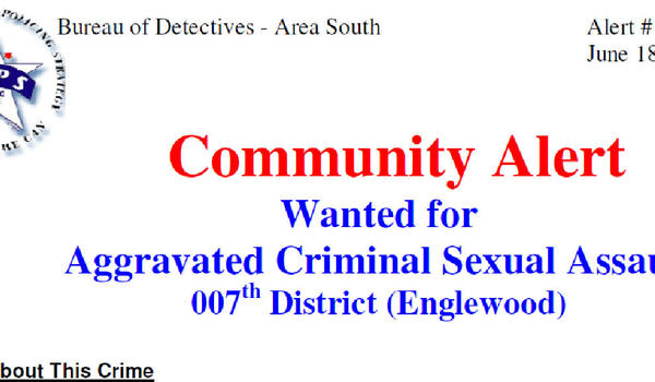 Community alert regarding Englewood sexual assault.