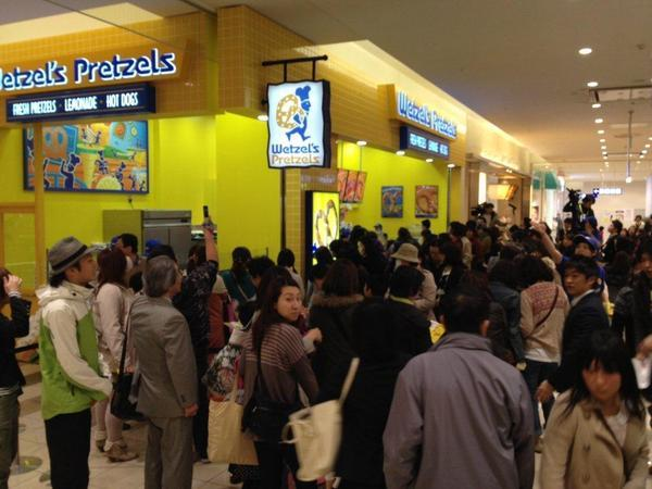 Like many other American food companies, Wetzel's Pretzels is looking for profit in Asia. Above, customers crowd the Wetzel's Pretzels in Tokyo