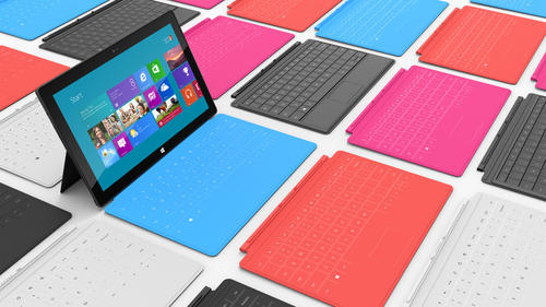 The Surface comes in two different flavors -- for Windows RT and for Windows Pro. The RT version is in both 32-gigabyte and 64-gigabyte orientations.
