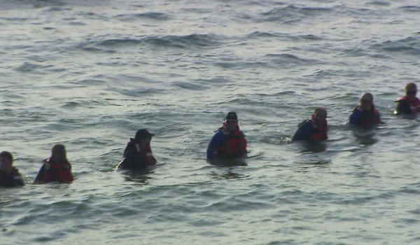 Divers search Lake Michigan this afternoon near Beverly Shores, Ind. WGN-TV