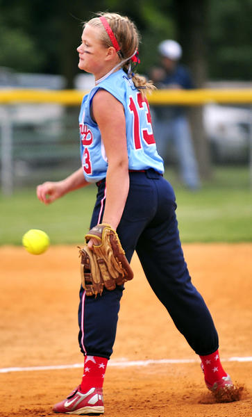 Halfway's Trinity Schlotterbeck delivers a pitch during Game 1 of the Maryland District 1 Little League Softball championship series against Sharpsburg on Monday. Schlotterbeck struck out 11 as Halfway won, 6-4.