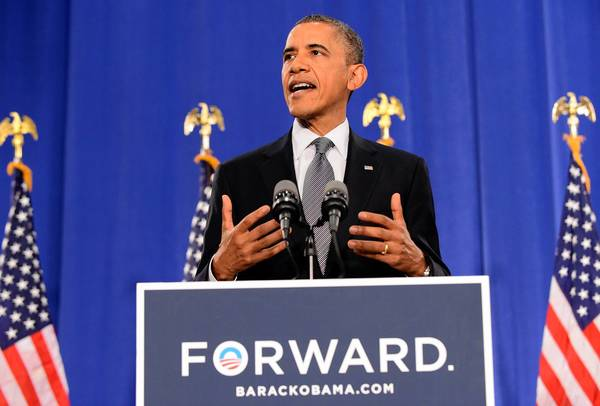 """President Barack Obama's message seems to be """"You may not be happy with my record, but you'll be even less happy with the other side."""""""