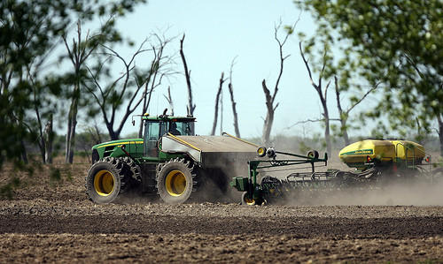 An area farmer plants his crop in a field on Brown County 14 just north of Eighth Avenue Northeast Saturday. photo by john davis taken 5/12/2012
