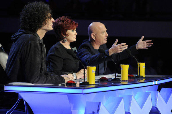 L-R: Judges Howard Stern, Sharon Osbourne, Howie Mandel.