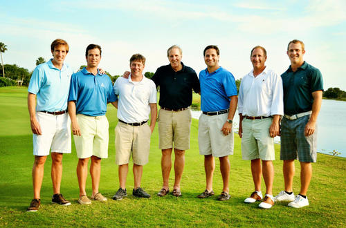 "Sean Bresnan, left, Joe LaRocca, Matt Constantine, Frank Bresnan, Joe Carron, Tom Frankel and Gary Pohrer at Adopt-A-Family of the Palm Beaches' ""Sandhill Crane Invitational,"" which took place at Old Marsh Golf Club and raised more than $40,000. To see more photos from Society Scene's Palm Beach edition, visit www.Facebook.com/SocietyScene."
