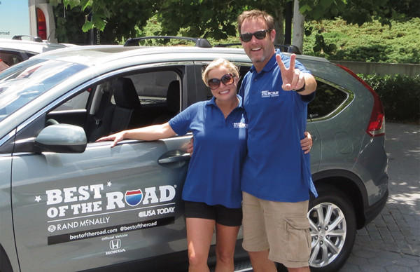 Husband and wife team Dusty and Nikki Green should roll into Danville this evening as part of the Rand McNally-USA Today Best of The Road contest.