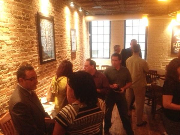 Parents gather for happy hour at the first Baltimore Tech Parents meetup at Heavy Seas Alehouse.