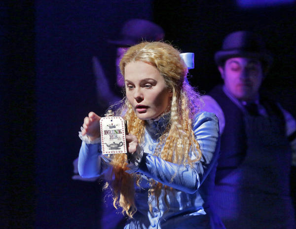"Ashley Emerson as Alice in Opera Theatre of Saint Louis's 2012 production of ""Alice in Wonderland."""