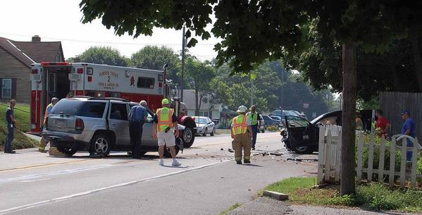 Police and other emergency crews respond to a two-vehicle crash on Pa. 16 in Washington Township, Pa., Tuesday. One person was pronounced dead following the crash.