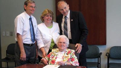 Lucille Severine celebrates her upcoming 107th birthday with the Somerset County Commissioners Tuesday, from left, John Vatavuk, Pamela Tokar-Ickes and Joe Betta.