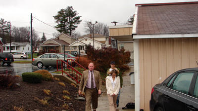 Attorney Arthur McQuillan, Johnstown, and Erica Gindlesperger at her arraignment for homicide by vehicle.