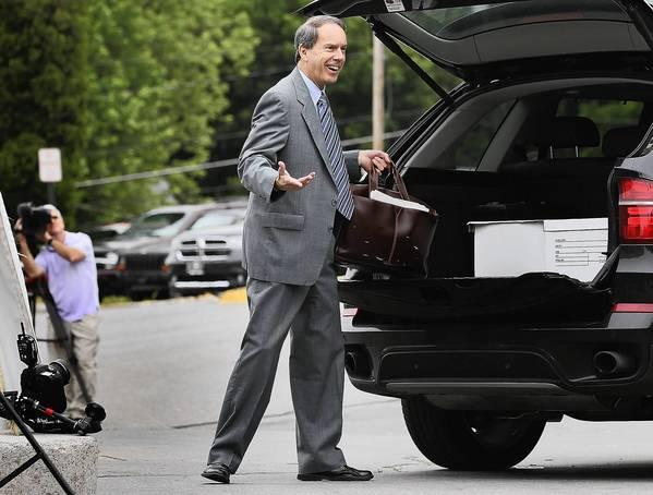 Defense attorney Joe Amendola, who is representing Jerry Sandusky, arrives at the courthouse in Bellefonte, Pa. Amendola's remarks likening the former coach's sex-abuse trial to a soap opera raised eyebrows Tuesday.