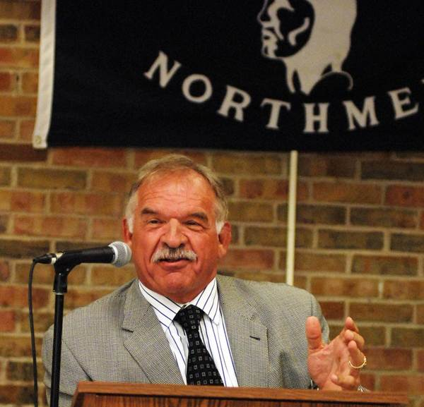 Pro Football Hall of Famer Dan Dierdorf speaks at the Petoskey High School Varsity Awards Banquet.
