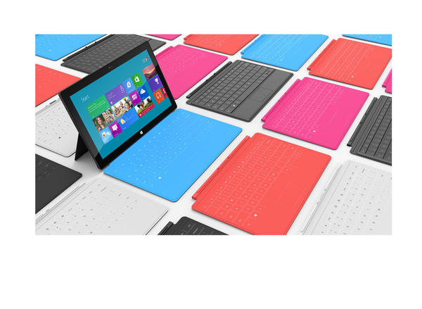 Microsoft's Surface is a tablet can quickly become a lot like a netbook, with a built-in kickstand and touch keyboard cover