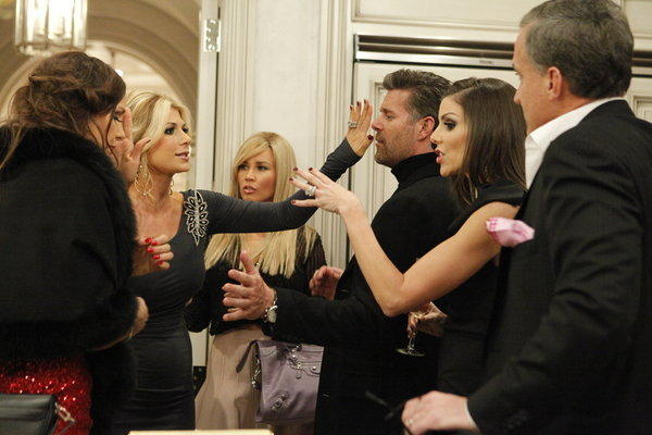 "The ladies battle it out in the ""The Real Housewives of Orange County"" finale, part 1. Pictured: (l-r) Sarah Winchester, Alexis Bellino, Slade Smiley, Heather Dubrow, Terry Dubrow"