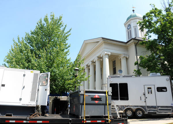 Media fills the area in front of the courthouse during Jerry Sandusky's trial at the Centre County Courthouse in Bellefonte on Wednesday.