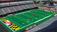The new, synthetic Byrd Stadium football and lacrosse field won't be red, black or pewter.