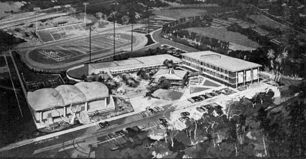 The architectural firm of Smith, Powell and Morgridge in June 1962 released this rendering of the planned, $3 million La Canada High School project being constructed on property that had most recently been an equestrian operation and, before that, fairways of the Flintridge Country Club. The towns first high school was expected to open in the fall of 1963.
