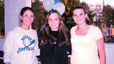 The Berlin softball team recently honored their four-year starters. They are, from left: Lauren Short, Megan DeMartino and Samantha Johnson.