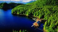 King Pacific Lodge, British Columbia, Canada. Aerial view of King Pacific Lodge, a floating wilderness resort off the Great Bear Rain Forest