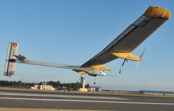 Swiss-made Solar-powered aircraft the Solar Impulse piloted by Bertrand Piccard of Switzerland takes off from Rabat on June 21, 2012 for a voyage across the Moroccan desert to  Ouarzazate.