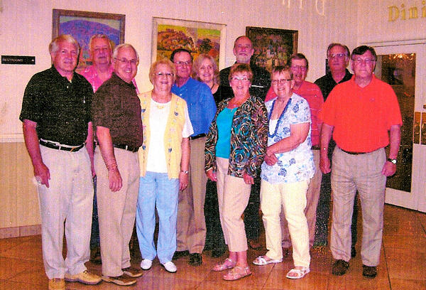 "Attending the Shepherdstown High School class of 1962 reunion were, front row, from left, Paul Park, John Rentch, Marguerite Mills Carroll, Judy Riggleman Morrissette, Theresa Kline Barb and Jeff Stephens; and back row, Zack Fleming, Richard Blue, Kay Van Meter Floyd, Paxton Marshall, Larry Osbourn and Harwood ""Sonny"" Kidwiler. Not pictured is honorary classmate Bernadine Cole Jones."