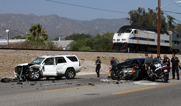 Burbank police investigate the scene of the crash Wednesday, June 20.