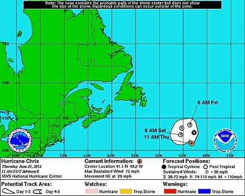 Hurricane Chris is expected to fizzle in the Atlantic over the next couple of days.