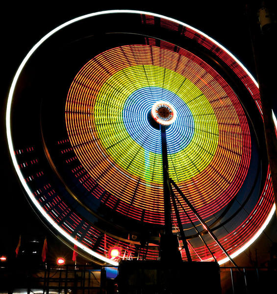 The lights of the Ferris wheel created an unique pattern during a six-second time exposure of the ride at the Clark County Fair. The fair continues tonight through Saturday evening. The carnival rides are from Paradise Amusements.